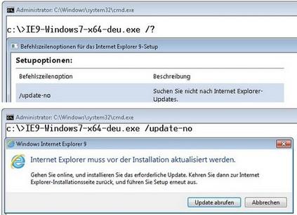 IE9 Setup verlangt nach Internetverbindung