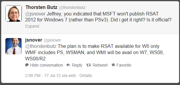 Jeffrey Snover on Twitter: no RSAT for Win7