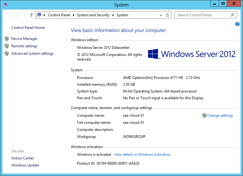 Windows Server 2012 Screenshot System GUI