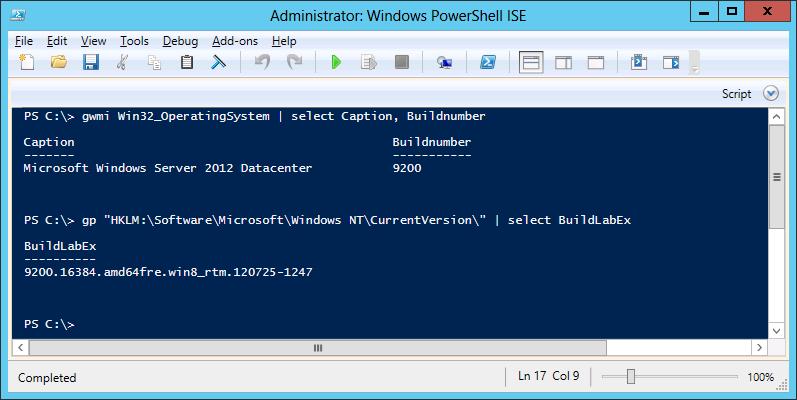 Windows Server 2012 Buildnumber